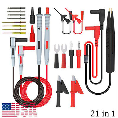 21 In 1 Multimeter Test Lead Kit For Fluke Electrical Alligator Test Probe