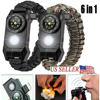 6IN1 Tactical Survival Kit Paracord Bracelet-Compass, Fire, LED, Knife & Whistle - Paracord Compass