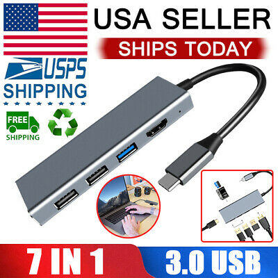 7in1 Type C USB C Hub Adapter 3.1 ports Card Reader 4K HDMI For MacBook Pro US
