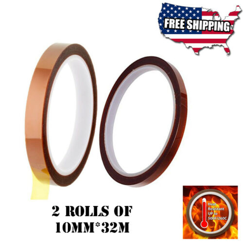 2 Rolls Heat resistant tapes sublimation Press Transfer Thermal Tape 10mm*32m