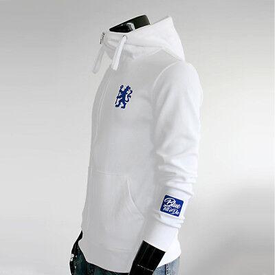 Chelsea FC Full Zip Hoodie Soccer Team Jacket Turtleneck Hooded Outer White ()