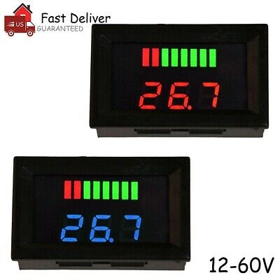 12v-60v Led Digital Voltmeter Voltage Meter Battery Gauge Car Motorcycle Us