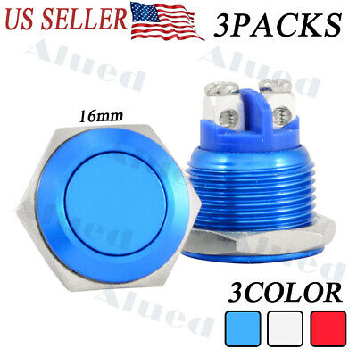 3pcs 16mm 12v Led Power Symbol On-off Car Push Button Switch Metal Waterproof