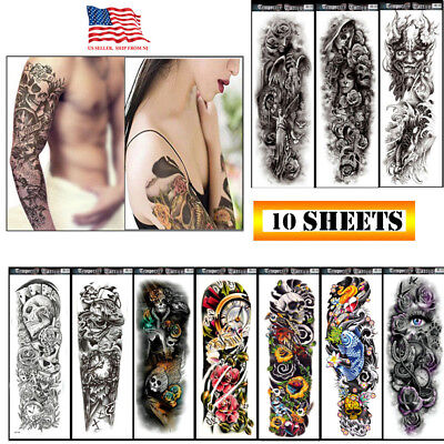 10 Sheets Fake Temporary Tattoo large Full Arm sticker waterproof Black
