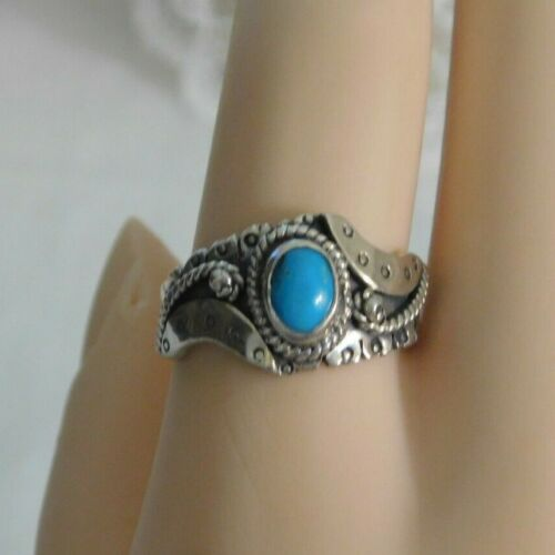 Vintage Native American Sterling Silver Blue Turquoise Ring Signed 925