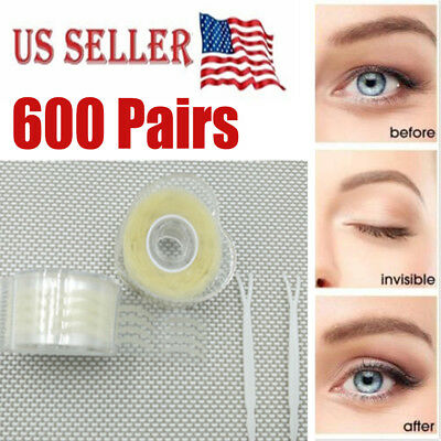 2 Roll 600 pairs Double Eyelid Sticker Tape Narrow Transparent Invisible Natural