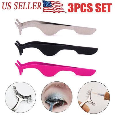 3 PCS False Eyelashes Clip EyeLash Tweezers Applicator Eye Lash Aid Forcep Tools False Eyelash Applicator