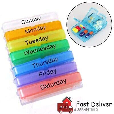 Daily Pill Box Weekly Organizer Case Medicine Storage Travel Vitamin Holder US