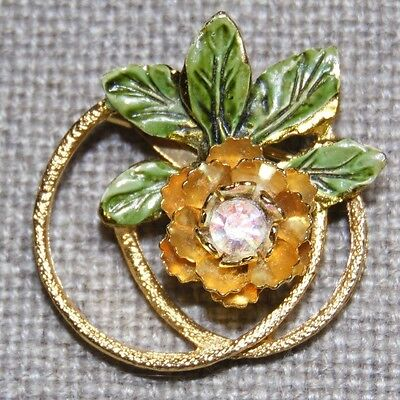 VINTAGE GORGEOUS AURORA BOREALIS CRYSTAL AND ENAMEL FLOWER AND LEAVES PIN BROOCH