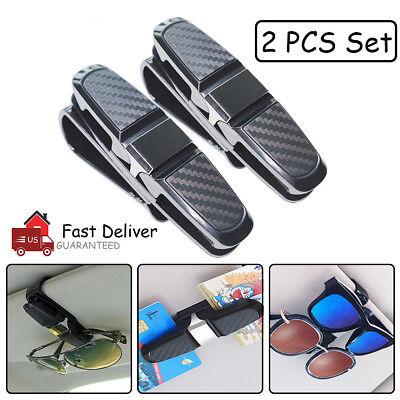 2PCS Universal Car Sun Visor Glasses Clip Carbon Fibre Sunglasses Cards (Sunglass Visor Clips)