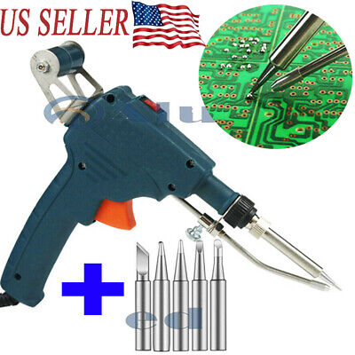110v 60w Auto Electric Soldering Iron Gun With 5pcs Soldering Iron Tip Set