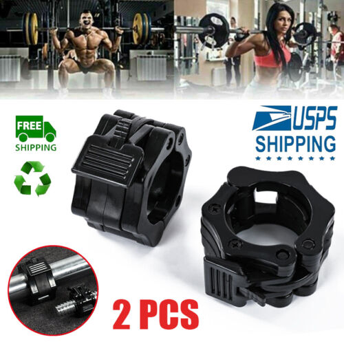 2PCS 50mm Olympic Weight Bar Collar Barbell Dumbbell Locking Spin Clamp US Barbells & Attachments