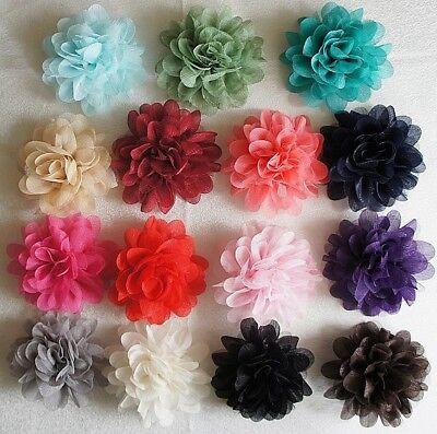 Hair Flower XL Glimmer 15 Colors Buttonhole Fabric Clip XXL