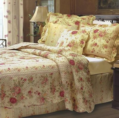 Queen dowager Full Quilt Set Antique Roses Shabby Cottage Chic Floral Cotton Bedding