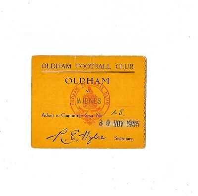 1935 - Oldham v Widnes, Committee Match Ticket (9.75cm width / 8cm length).