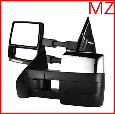For 07-14 Ford F150 Pickup Chrome Towing Power Heated Mirrors Pair Signal puddle
