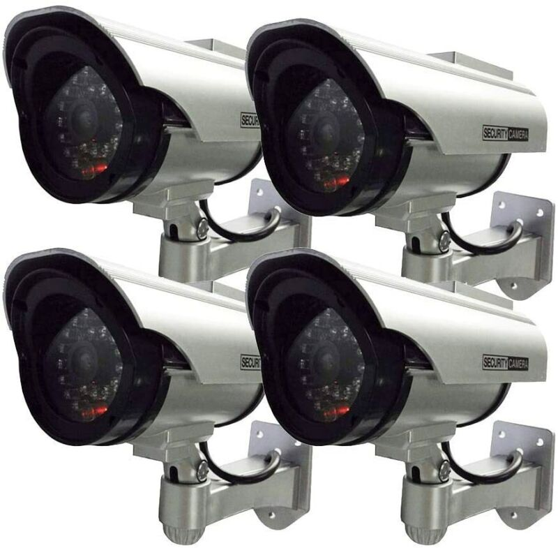 4Pack Solar Dummy Fake Flashing Light IR LED Security Camera CCTV Surveillance