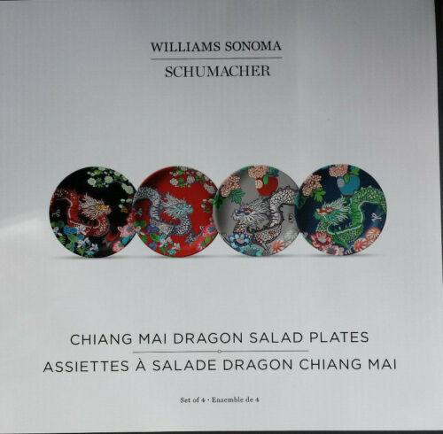 Williams Sonoma Chiang Mai Dragon Schumacher Salad Plates Set Of 4 NEW