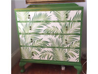 Solid mahogany drawers / Sideboard very funky palm trees