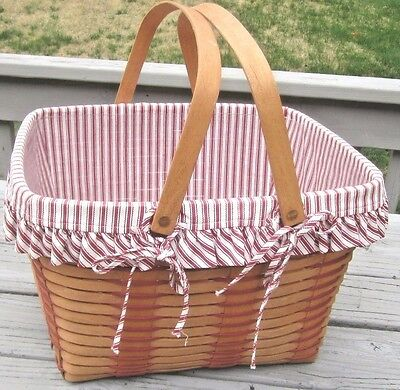 LONGABERGER Large PICNIC Type Basket with Red Ticking Liner & Protector