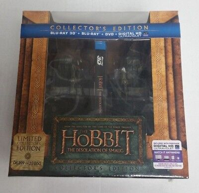 3D Blu-Ray DVD The Hobbit Desolation of Smaug Limited Ed w/ Bookends Statues NEW for sale  Shipping to India