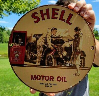 OLD VINTAGE DATED 1939 VINTAGE SHELL GASOLINE OIL PORCELAIN ENAMEL GAS PUMP SIGN