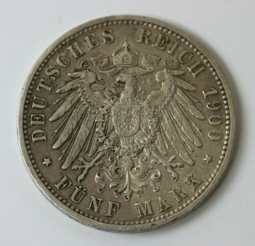1900G Germany/Baden Silver 5 Mark Circulated Coin #90814JR