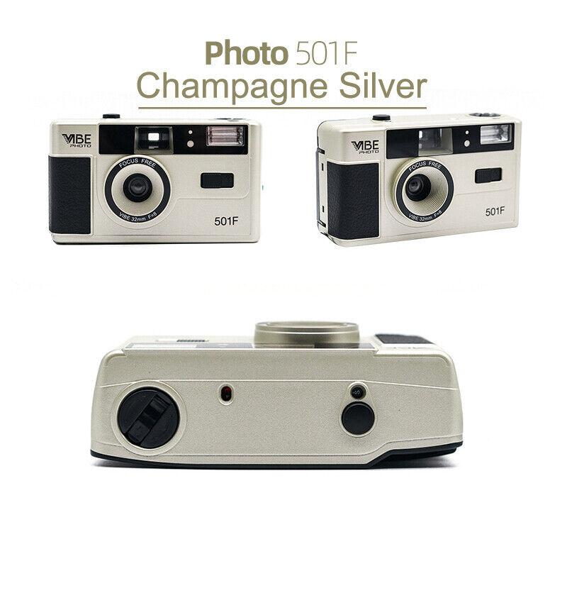 как выглядит NEW - Vibe Photo 501F Vintage 35mm Reusable Film Camera Black / Gold фото
