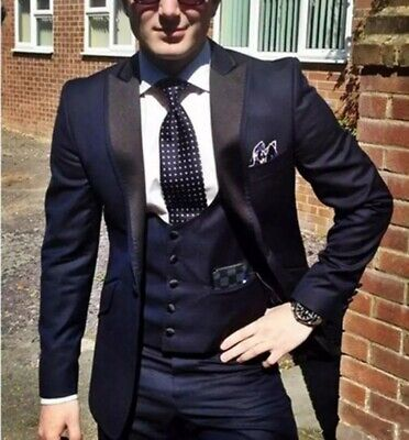 Dark Blue Man Best Men Suits Jacket Suit Wedding Groom Tuxedos Formal Prom (Groom Best Man Suits)