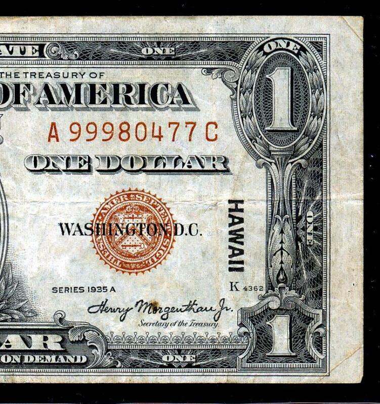 """Fr.2300 1935A $1 HAWAII """"WWII EMERGENCY ISSUE"""" A-C BLOCK SILVER CERTIFICATE VF+"""