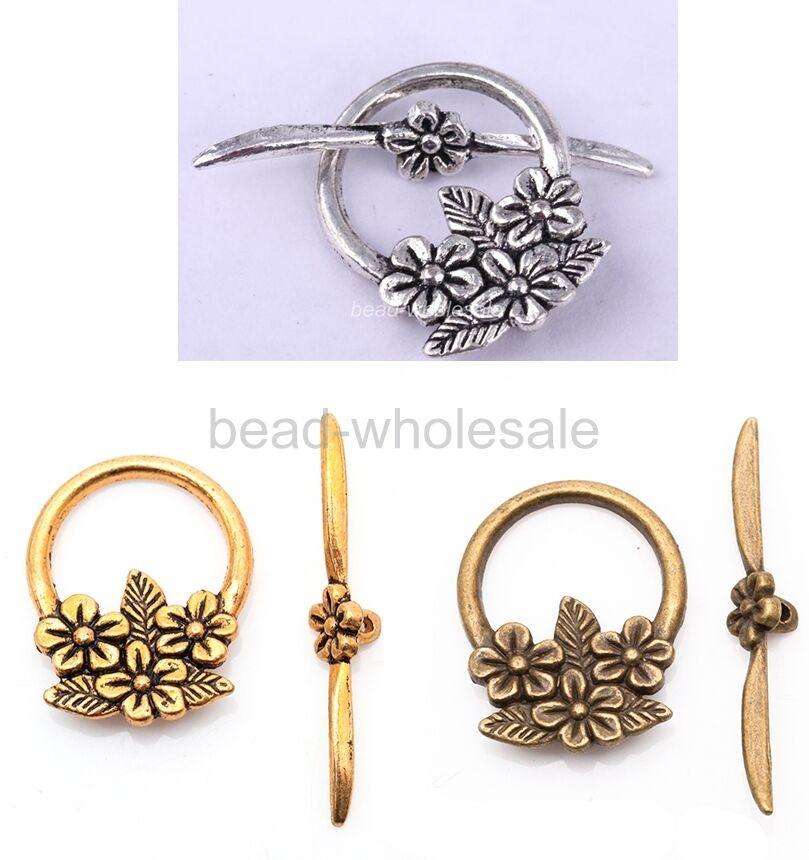 15-Sets-Tibetan-Silver-Flower-Toggle-Clasps-Antique-Fashion-Silver-Golden-Bronze