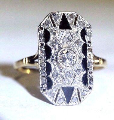Antique Art Deco Diamond and Enamel 18K Platinum Ring Size 7.5
