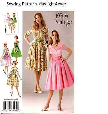 Women Retro Vintage 1950's Dress Sewing  Pattern Simplicity 1459 Size 8-16 #u