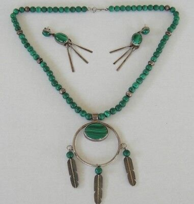 Vtg Sterling Silver Malachite Necklace and Earrings Set by Navajo Tully Sam & CP