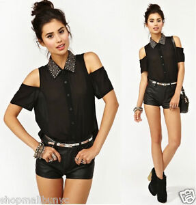 NWT-BLACK-CHIFFON-SHEER-BUTTON-UP-BEADED-COLLAR-CUT-OUT-SHOULDER-SHIRT