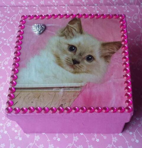 Handmade Pink Kitty Kitten Paper Mache Trinket Jewelry Gift Box w/ Rhinestones