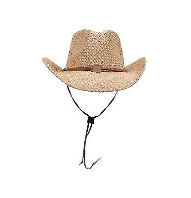 Strohhut mit Kinnband hellbraun Westernhut Cowboyhut Sonnenhut Stroh Hut Texaner