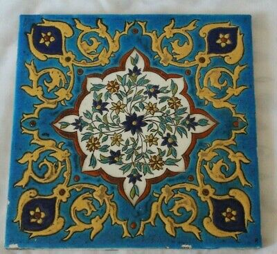 large LEBEUF MILLIET CREIL FRENCH EMAMEL EMAUX COLOURS TILE AESTHETIC C 1880S