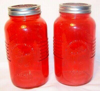 Jar with frog flower lid Red Pink Mason Quart Glass X2 Set](Mason Jar With Flowers)