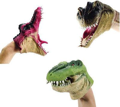 Set Of 3  Dino Hand Puppets Chomping T Rex Park Velociraptor Dinosaur Puppet 3X