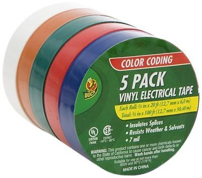 5 Pack Assorted Vinyl Electrical Tape 12 X 20 Red Blue White Green Orange