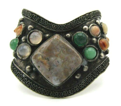 "Beautiful India Silver Tone Alloy Metal Gemstones Cuff Bracelet 6.5"""