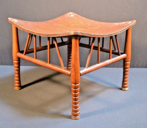 Antique Arts & Crafts Egyptian Revival Thebes Wood Stool Important Design
