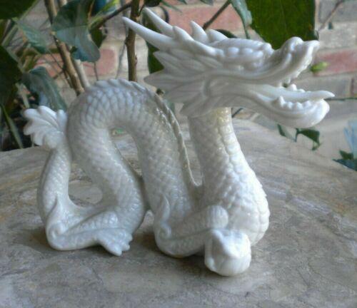 "Vintage Yoshimi K. Dragon Statue Figurine Made In Japan Porcelain White 5"" L"