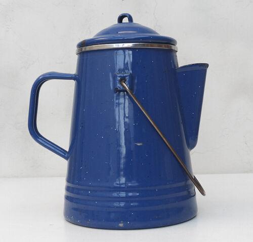 Vintage Dark Blue Enamelware Coffee Pot Handle Percolator Cowboy Farm Camping
