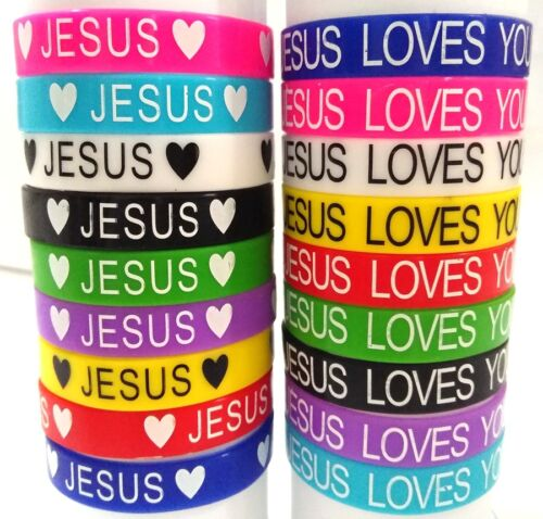 50x JESUS Silicone Bracelets JESUS LOVES YOU Rubber Wristbands Religious Jewerly