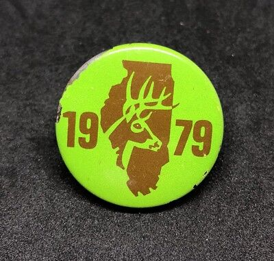 Illinois 1979 Deer Harvest Pin Button Shotgun Hunting   1