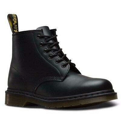 Dr. Martens 101 Black Smooth Leather 6-Eye Boots - 24255001 -