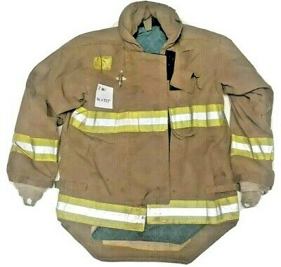 42x33.5 Morning Pride Firefighter Brown Turnout Jacket Coat W Yellow Tape J861