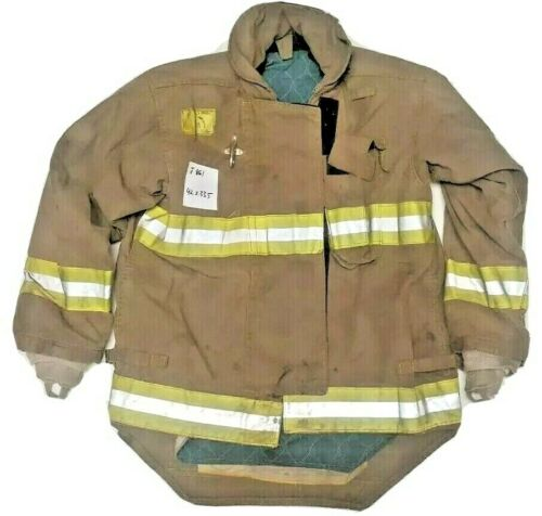 42x33.5 Morning Pride Firefighter Brown Turnout Jacket Coat w/ Yellow Tape J861